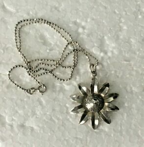 Vtg-SOLID-STERLING-SILVER-925-PENDANT-amp-18-034-Micro-Bead-NECKLACE-Daisy-Flower