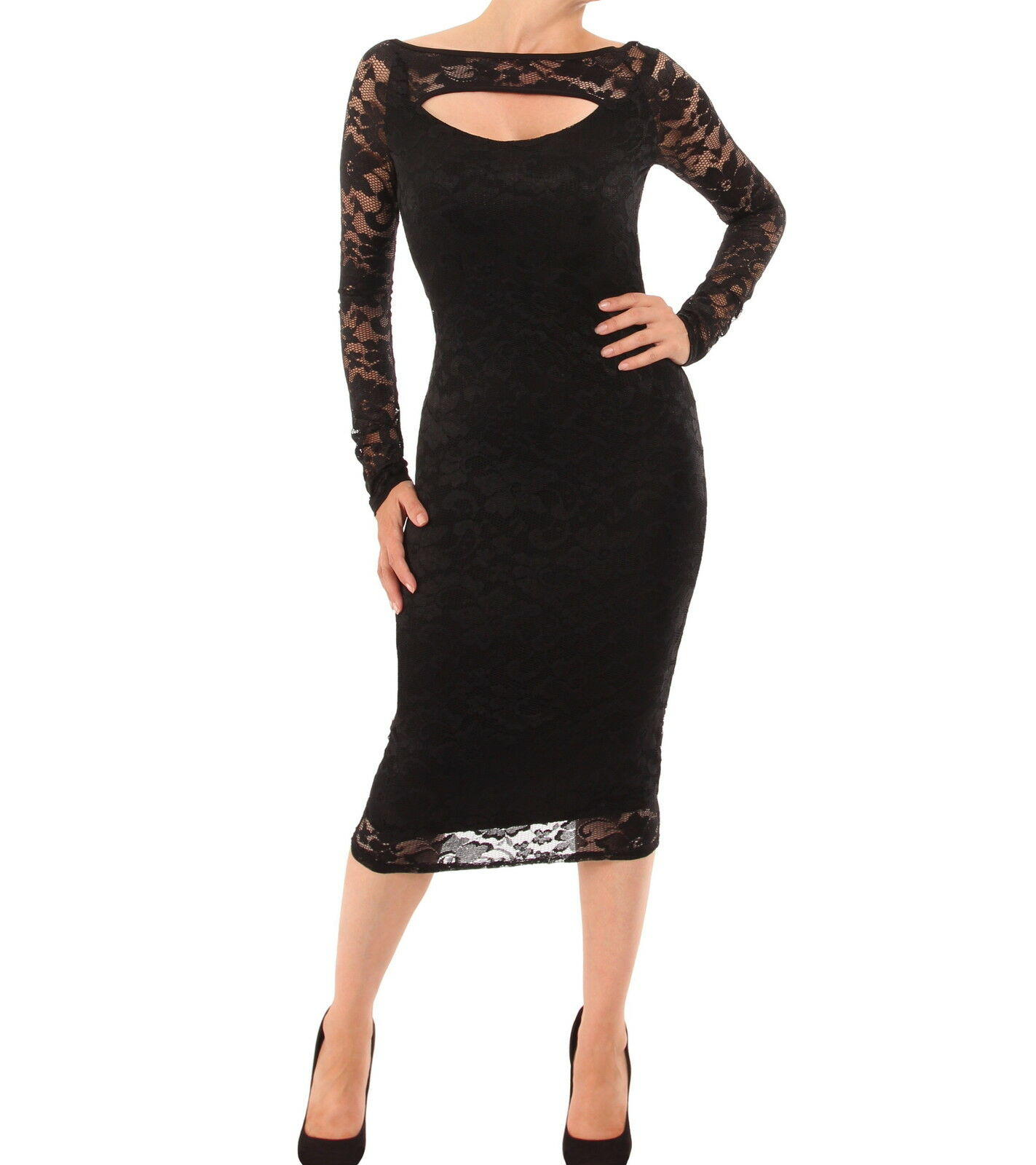 New Lace Cut Out Keyhole Pencil Dress - Knee Length