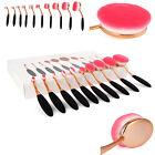 Professional 10Pcs Oval Cream Gold Pink Makeup Brushes Set & Kabuki Toothbrush