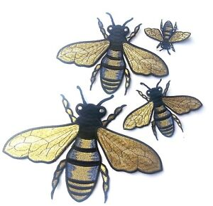 Metallic-Gold-Bee-Patches-Shaped-Embroidered-4-Sizes-3-034-11-034-Quality