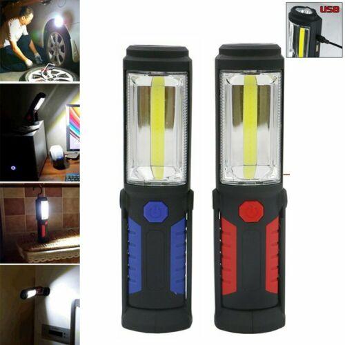 Multifunction COB Rechargeable LED Work Slim Light Lamp Magnetic Flashlight UK