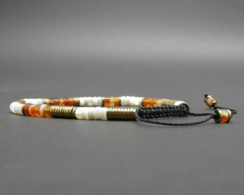 Bracelet fin gemmes heishi de nacre cornaline naturelle hématite dorée vieillie