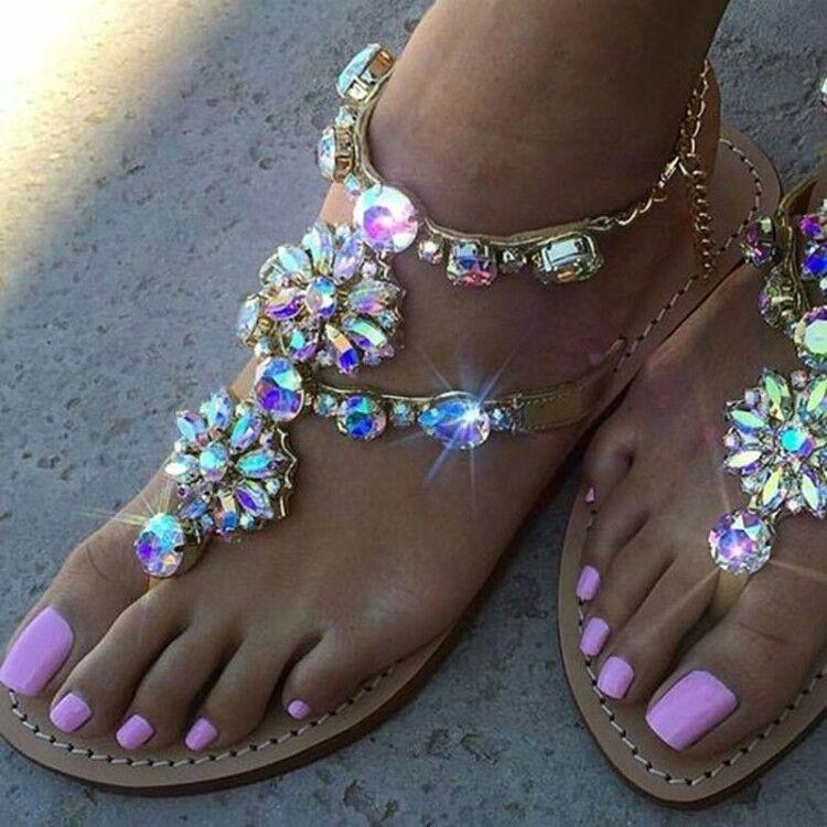 Fashion Women's Flats Bohemian Style colorful Rhinestone Beach Sandals Size 8