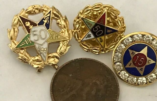 2 Order of Eastern Star 50-Year Pins & Bonus Retail Clerks 15 Year Pin  01-124