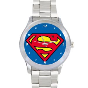 Superman-Superhero-Krypton-Quartz-Silver-Stainless-Steel-Mens-Wrist-Watch
