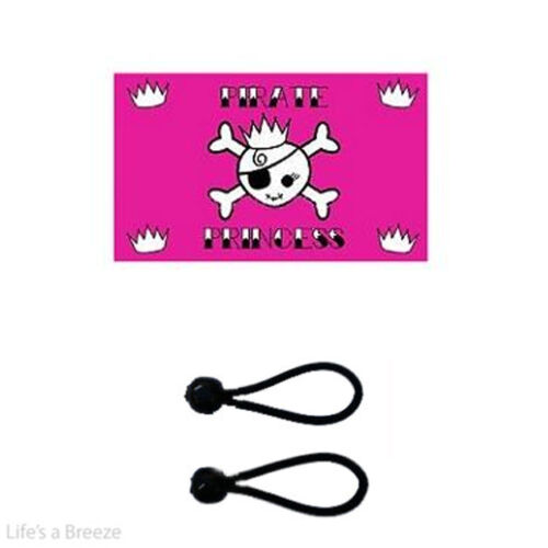 Pirate Princess pink Flag 5 x 3Ft Flag  Comes With Free Ball Ties