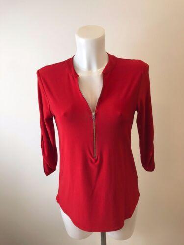 Femme Nouveau Rouge Haut Tunique Taille 8 10 12 14