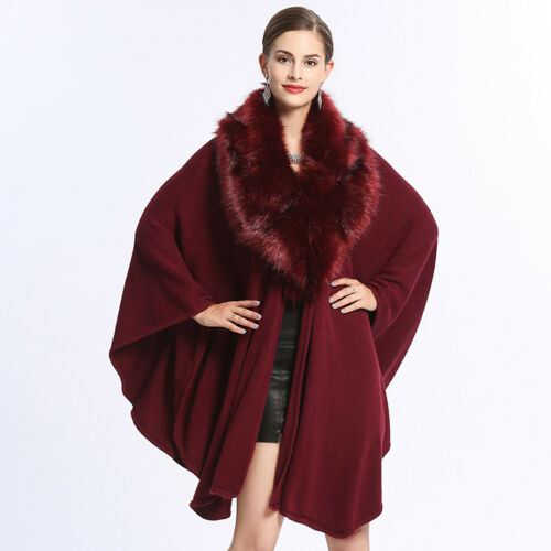 Cloak Overtøj Toppe Baggy Collar Fur Cape Lady Vintage Jacket Winter Faux Frakke AwU7qtz