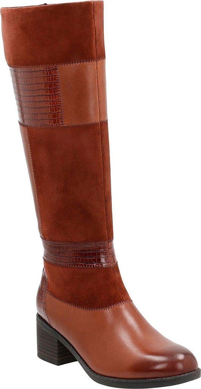 Donna Dress scarpe  Clark's Nevella Nova Mid Calf stivali Suede Leather Marronee Tan  economico in alta qualità