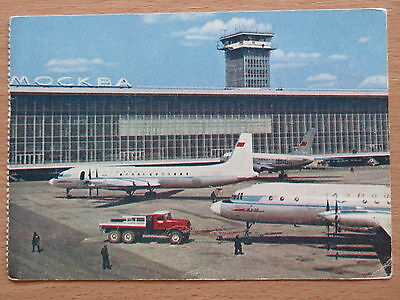 Airlines Smart Post Card Aeroflot Air Port Liner Plane Ways Terminal Craft Domodedovo Il-18 Fly Easy To Repair