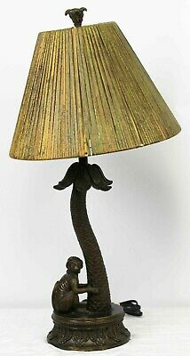Monkey Table Lamp Sitting Palm Tree Bamboo Shade Jungle Exotic Faux Bronze 28