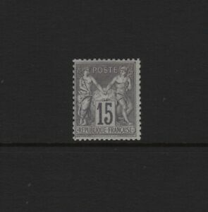 FRANCE-STAMP-TIMBRE-N-77-034-SAGE-15c-GRIS-TYPE-II-1876-034-NEUF-xx-TTB-SIGNE-T800