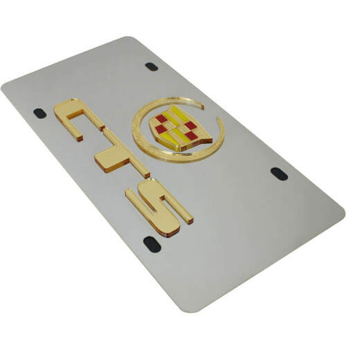 CTS Name On Polished Stainless Steel License Plate Cadillac Gold Logo