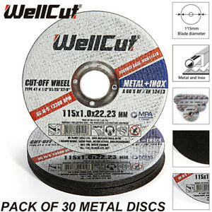 WellCut-Metal-Cutting-Disc-Stainless-Steel-115mm-4-5-034-1-6mm-For-DGA452Z-Pack-30