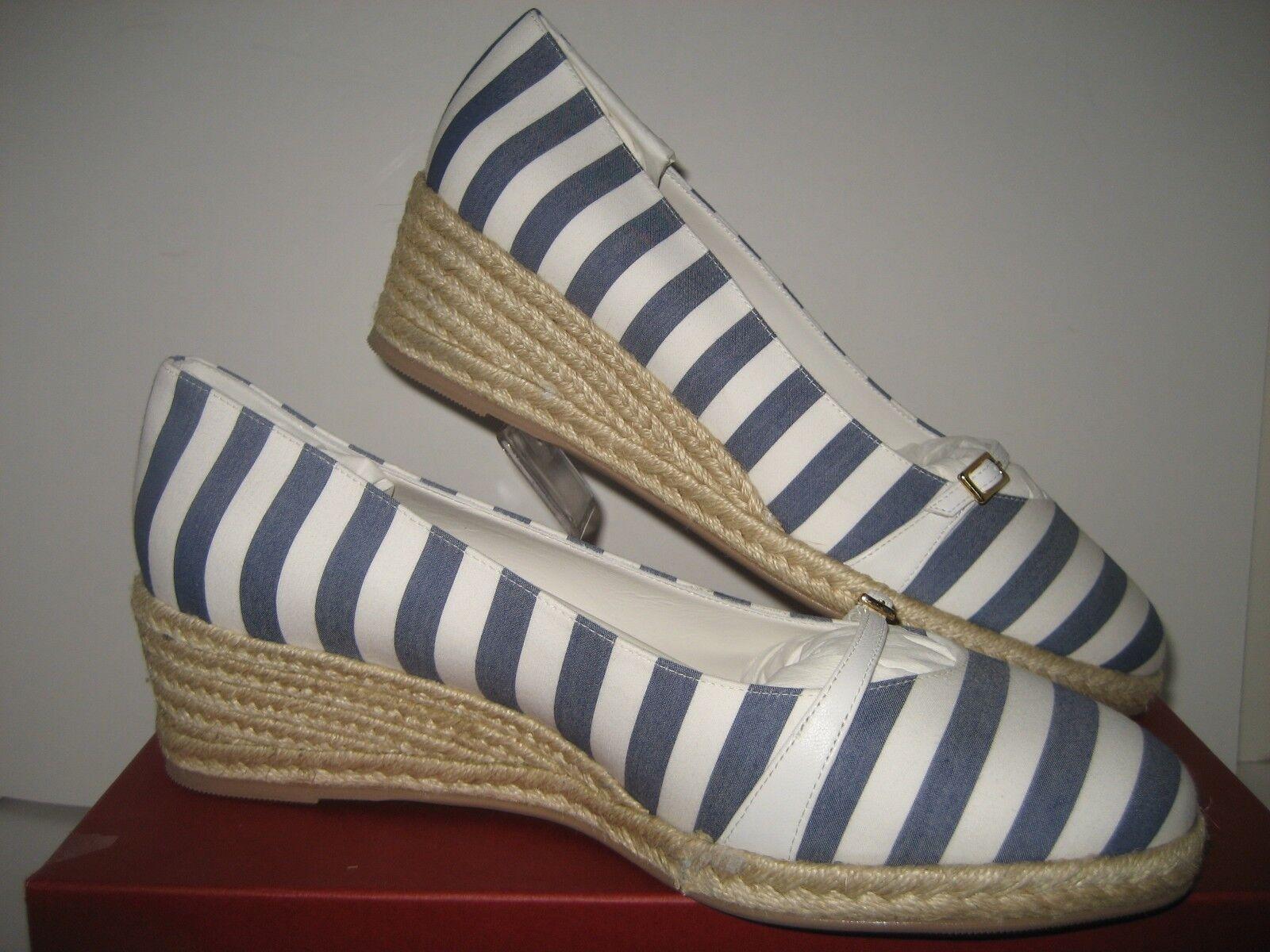 450 NEW NEW NEW Salvatore Ferragamo Audrey bleu blanc Stripes Wedge Heels chaussures US 10.5 88f76d