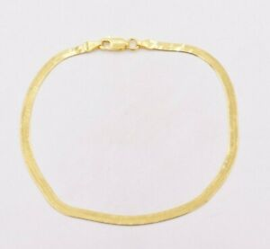 3-00mm-Flexible-Herringbone-Bracelet-Real-14K-Yellow-Gold-Clad-Silver-925-ITALY