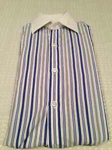 Vtg-TURNBULL-amp-ASSER-Men-039-s-Dress-Shirt-Blue-Gray-White-Striped-100-Cotton-Sz-15