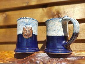 ASHBOAR-Stoneware-Medium-Tankard-Blue-amp-Woodash-Beautiful-Design-Handmade