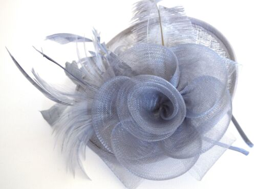 New Large silver net and hessian hatinator fascinator wedding races ascot prom