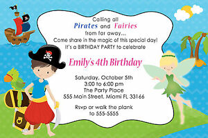 30 fairy and pirate invitation cards kids birthday party invites image is loading 30 fairy and pirate invitation cards kids birthday filmwisefo