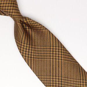 John-G-Hardy-Mens-Silk-Wool-Necktie-Tan-Brown-POW-Glen-Plaid-Check-Tie-Italy