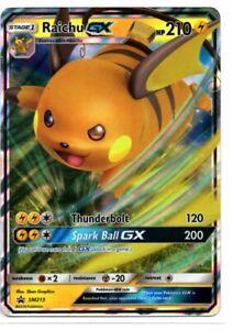 Rare Holo Promo Card Pokemon Hidden Fates MINT SM213 Raichu GX