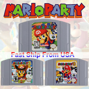Nintendo 64 Mario Party 1/2/3 Video Game Cartridge Console Card US Version GIFT