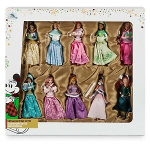 Disney Store Princess Sketchbook Ornament Set Jasmine Tiana Ariel Belle LOOSE