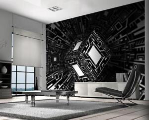 Image Is Loading Illusion Black Amp White Wallpaper Woven Self