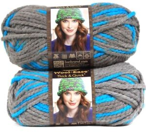 2-Lion-Brand-Wool-Ease-Thick-amp-Quick-6-Super-Bulky-514-Blue-Jay-Washable-Yarns