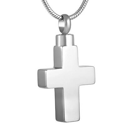 Simple Heart Stainless Steel Cremation Pendant Necklace Ashes Keepsake Urn Stash