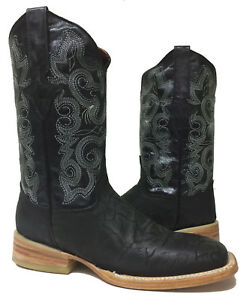 a91ae5d6352 Mens Black Elephant Print Genuine Leather Western Cowboy Boots Rodeo ...