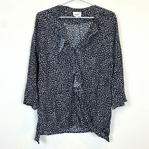 Seed-Heritage-Womens-Black-Grey-Long-Sleeve-Ruffled-CrossOver-Blouse-Top-Size-12