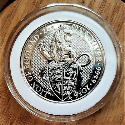 2016 2 oz British Silver Queen's Beast Lion Coin BU ENCAPSULATED