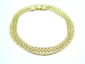 Pcraft-Gold-Tone-Multi-Strand-Chain-Link-Choker-Necklace-Vintage-1960s-B