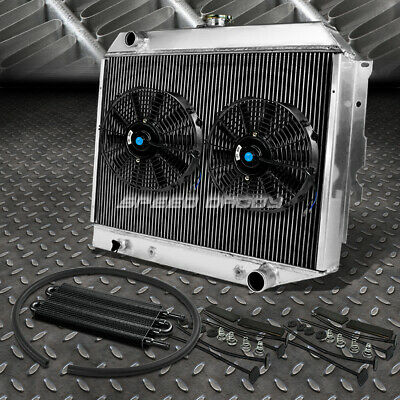 "3-ROW ALUMINUM RADIATOR+2X 10/""FAN BLUE+BLACK OIL COOLER FOR 68-73 DODGE CHARGER"