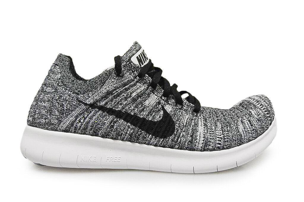 Womens nike free rn flyknit - 831070 100-grey white black sneakers