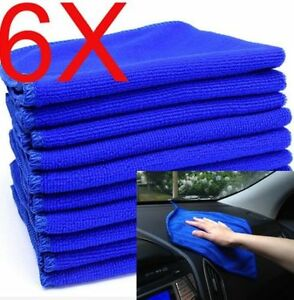 Blue-Microfiber-6PCS-Absorbent-Towel-Car-Clean-Wash-Polish-Multi-function-Towel