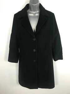 WOMENS-BOSSINI-LADIES-BLACK-70-WOOL-WINTER-LINED-OVERCOAT-BUTTON-UP-SIZE-11