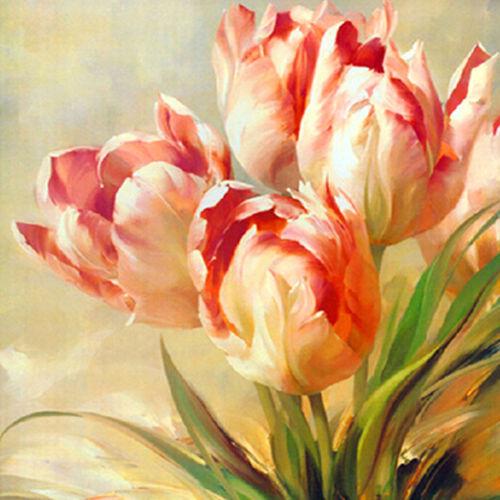 Full Drill Diamond Painting Kit Like Cross Stitch Tulip Flowers Floral ZY089G