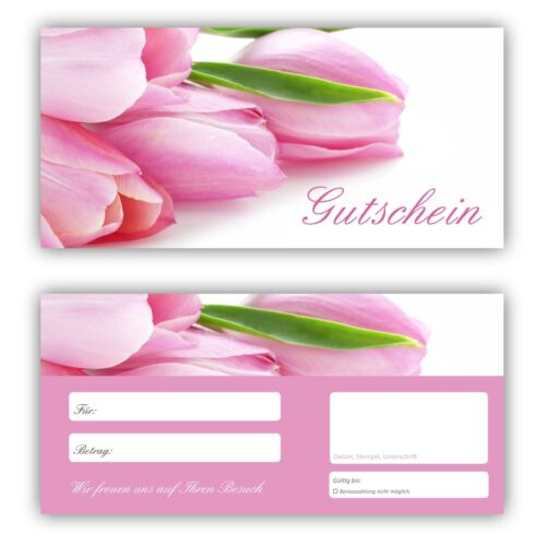 100 x Geschenkgutscheine Tulpen  Gutscheine Wellness Entspannung Blumen-610