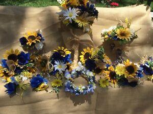 Sunflower Wedding Bouquet With Blue