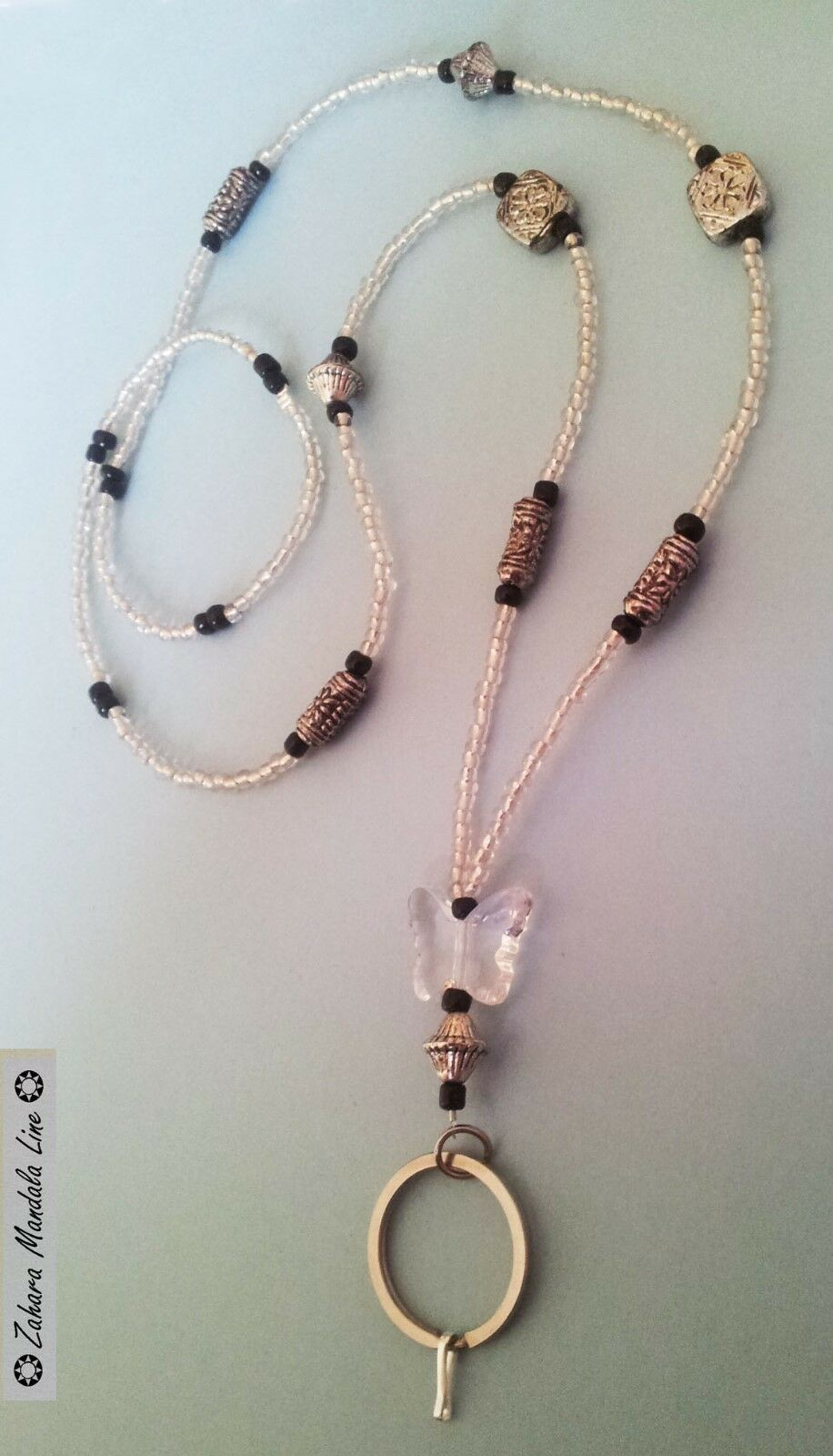 Clear Butterfly & Black ID Badge Holder HANDMADE Beaded Lanyard Fashion Necklace