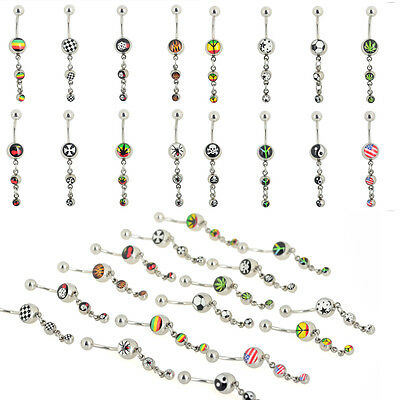 10pcs Wholesale Mixed Dangle Belly Button Ring Crystal Navel Bar Body Piercing