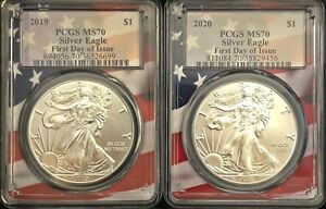 2-BEAUTIFUL-SILVER-EAGLES-2019-MS70-amp-2020-MS70-Both-First-Day-of-Issue