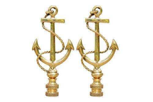 a Pair Large Brass Anchor Lamp Finials