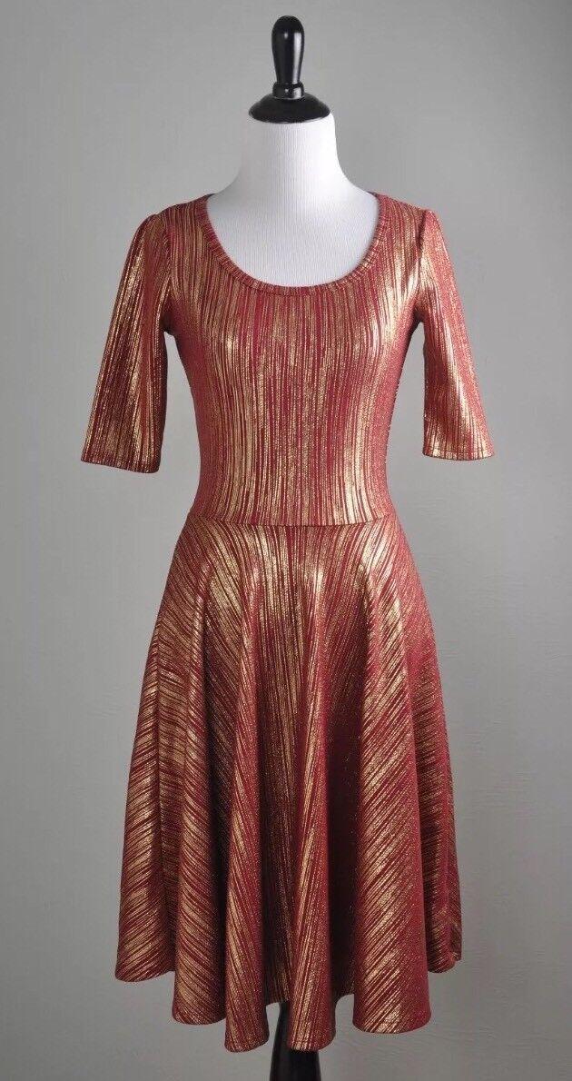 NWT  LuLaRoe Small ELEGANT NICOLE Dress Burgundy Red gold Metallic Foil Elegant