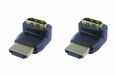 2 Pack Lot HDMI Right Angle Adapter M/F 270 Degree Gold Plated (AHM12L-270-2PK)