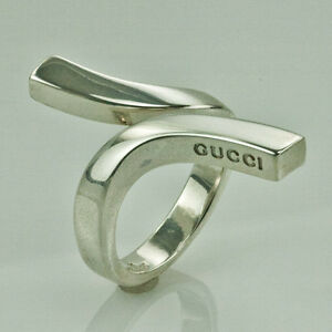 gucci sterling silver twist ring size 7 5 made in italy ebay