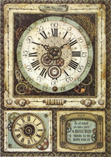 Rice Paper for Decoupage Scrapbook Craft Sheet Voyages Clock